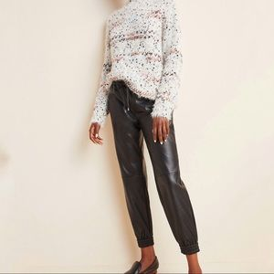 Anthropologie Black Sakara Faux Leather Joggers M
